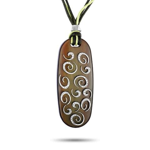 White Gold Diamond Wood Oval Large Pendant Necklace