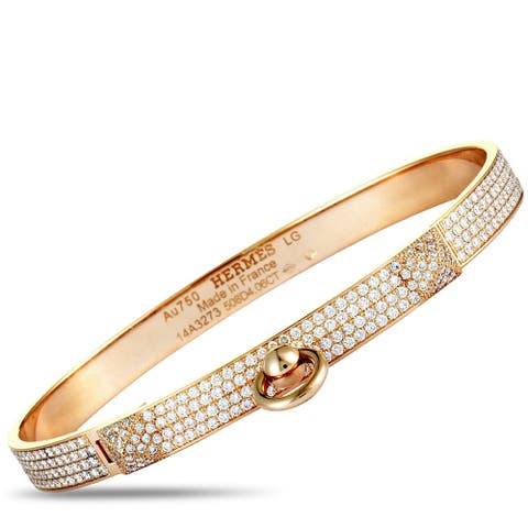 Hermès Kelly Rose Gold Diamond Pave Bangle Bracelet Size Large