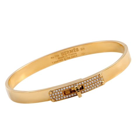 Hermès Kelly Yellow Gold Diamond Bangle Bracelet Size Small