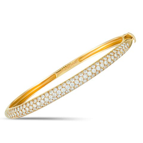 Van Cleef & Arpels Yellow Gold Diamond Pave Bangle Bracelet