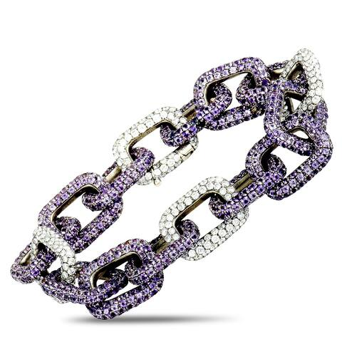 Mimi So White Gold Diamond and Sapphire Chain Bracelet
