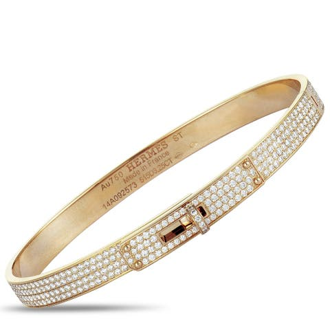 Hermès Kelly Rose Gold Diamond Pave Bangle Bracelet Size Small