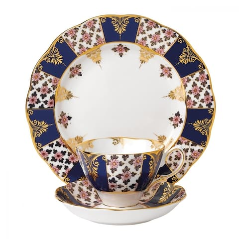 100 Years of Royal Albert Regency Blue 3-piece Place Setting