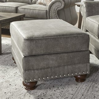 Link to Leinster Faux Leather Upholstered Nailhead Ottoman in Stone Gray Similar Items in Living Room Furniture