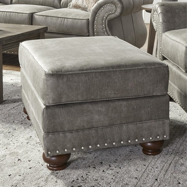 Leinster Faux Leather Upholstered Nailhead Ottoman in Stone Gray. Opens flyout.