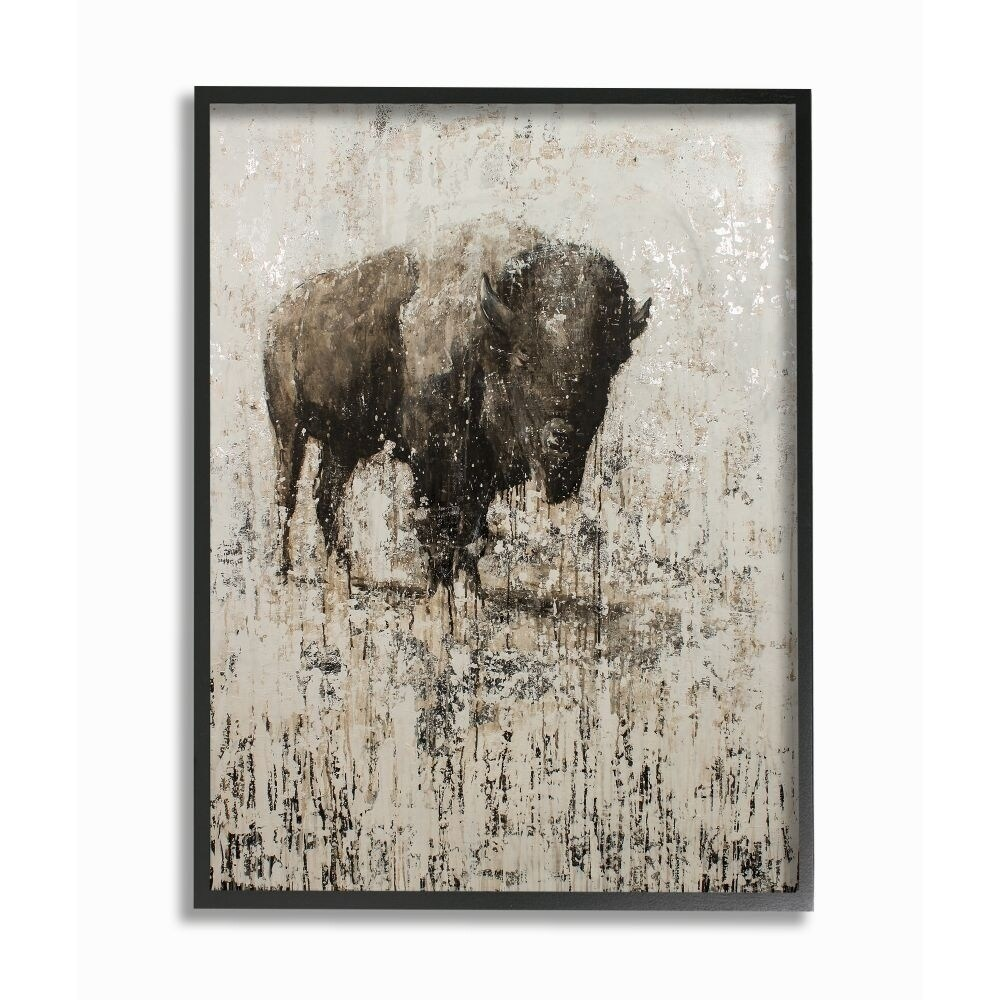 Multi-Color The Stupell Home Decor Rustic Distressed Surface Grey and Brown Wild Deer Framed Giclee Texturized Art