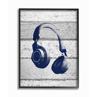 The Kids Room by Stupell Headphones Blue Print on Planks, 11 x 14, Proudly Made in USA - Multi-Color