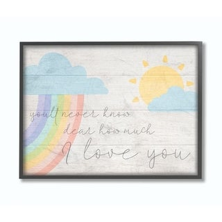 The Kids Room by Stupell How Much I Love You Rainbow Clouds and Sun on Planks, 11 x 14, Proudly Made in USA - Multi-Color
