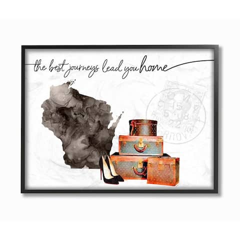 The Stupell Home Decor Collection Wisconsin State The Best Journeys Lead You Home Fashion, 11 x 14, Proudly Made in USA