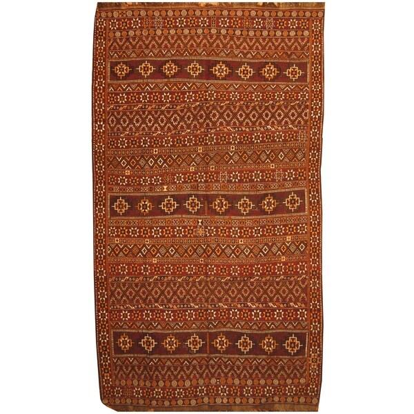 Handmade One-of-a-Kind Soumak Wool Kilim (Iran) - 6'10 x 12'7