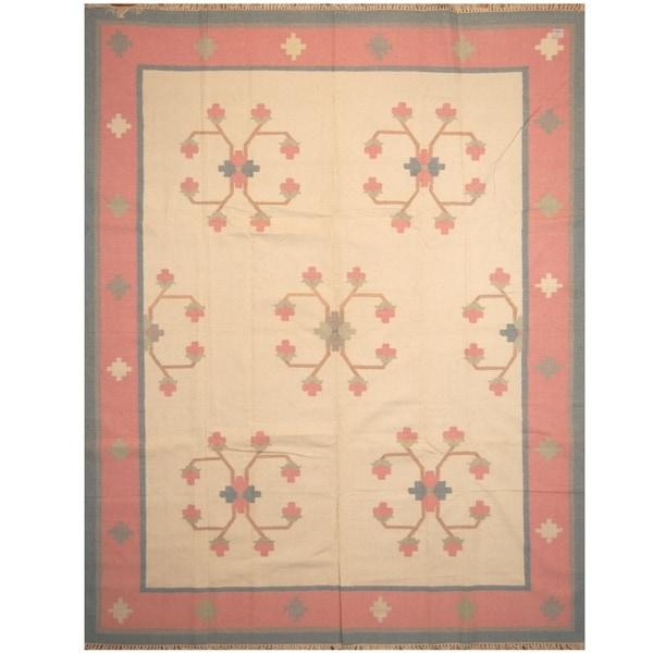 Handmade One-of-a-Kind Wool Kilim (India) - 9'4 x 12'
