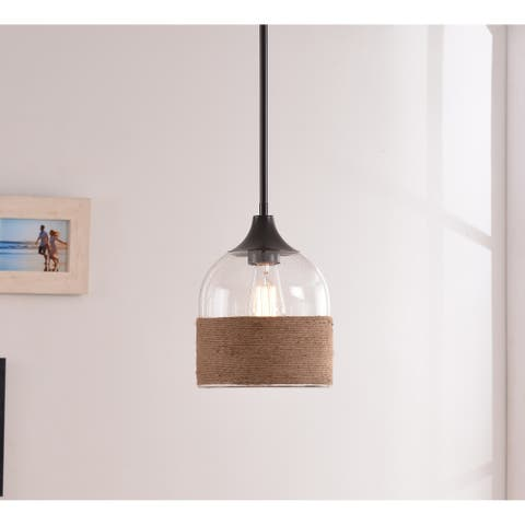 Jasper 1 Light Pendant - Oil Rubbed Bronze with Rope and Glass