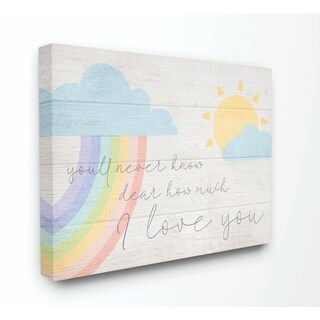 The Kids Room by Stupell How Much I Love You Rainbow Clouds and Sun on Planks, 16 x 20, Proudly Made in USA - Multi-Color