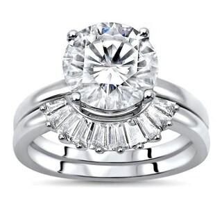 2 25ct TGW Round Moissanite And Diamond Engagement Ring Bridal Set 14k White Gold