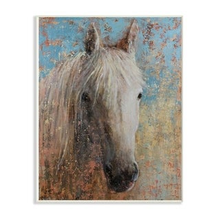 The Stupell Home Decor Collection White Horse Portrait Distressed Surface Blue Painting, 10 x 15, Proudly Made in USA