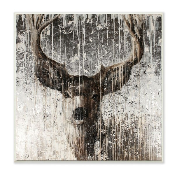 The Stupell Home Decor Collection Deer Portrait Distressed Dark Brown Painting, 12 x 12, Proudly Made in USA