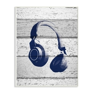 The Kids Room by Stupell Headphones Blue Print on Planks, 10 x 15, Proudly Made in USA - Multi-Color