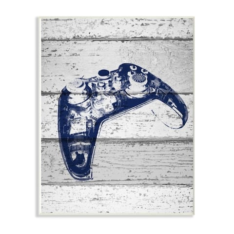 The Kids Room by Stupell Video Game Controller Blue Print on Planks, 10 x 15, Proudly Made in USA - Multi-Color