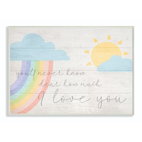 The Kids Room by Stupell How Much I Love You Rainbow Clouds and Sun on Planks, 10 x 15, Proudly Made in USA - Multi-Color
