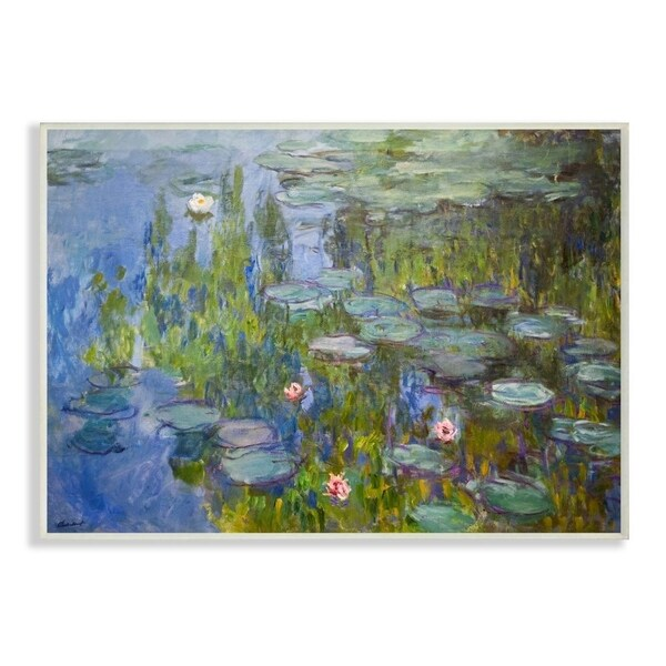The Stupell Home Decor Collection Monet Impressionist Lilly Pad Pond Painting, 10 x 15, Proudly Made in USA - Multi-Color