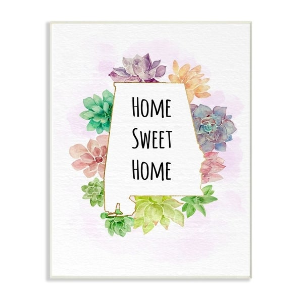 The Stupell Home Decor Collection Alabama State Home Sweet Home Succulent Vignette, 10 x 15, Proudly Made in USA - Multi-Color