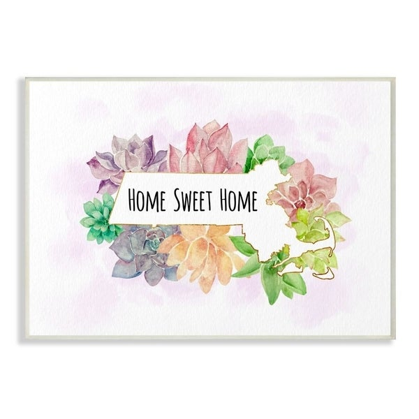 The Stupell Home Decor Collection Massachusetts State Home Sweet Home Succulent Vignette, 10 x 15, Proudly Made in USA