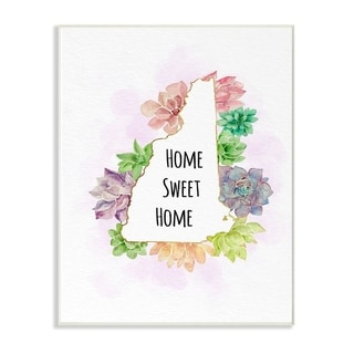 The Stupell Home Decor Collection New Hampshire State Home Sweet Home Succulent Vignette, 10 x 15, Proudly Made in USA