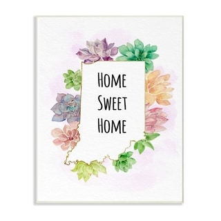 The Stupell Home Decor Collection Indiana State Home Sweet Home Succulent Vignette, 10 x 15, Proudly Made in USA - Multi-Color