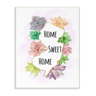 The Stupell Home Decor Collection New Jersey State Home Sweet Home Succulent Vignette, 10 x 15, Proudly Made in USA