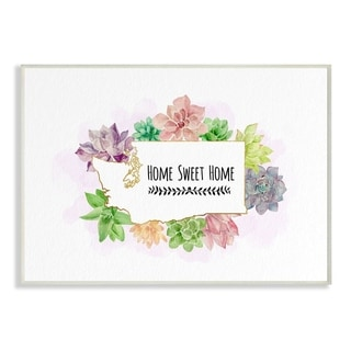 The Stupell Home Decor Collection Washington State Home Sweet Home Succulent Vignette, 10 x 15, Proudly Made in USA