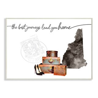 The Stupell Home Decor Collection New Hampshire State The Best Journeys Lead You Home, 10 x 15, Proudly Made in USA
