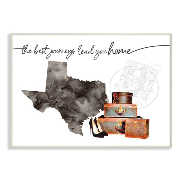 The Stupell Home Decor Collection Texas State The Best Journeys Lead You Home Fashion, 10 x 15, Proudly Made in USA
