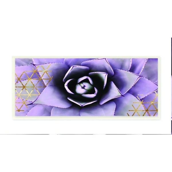 The Stupell Home Decor Collection Close Up Purple Succulent With Gold Patterns Photography, 7 x 17, Proudly Made in USA