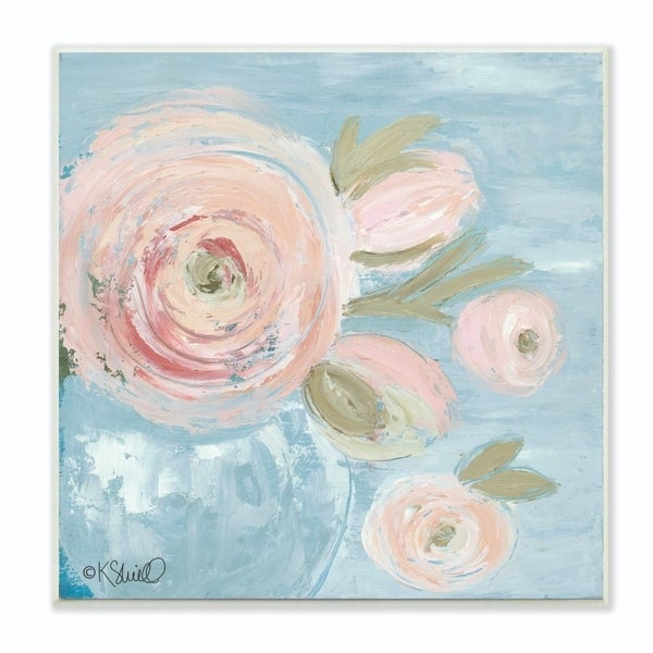 The Stupell Home Decor Collection Pink Flowers on Blue Impressionist Painting, 12 x 12, Proudly Made in USA