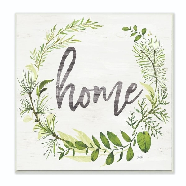 The Stupell Home Decor Collection Home Cursive Plant Vignette With Wood Grain, 12 x 12, Proudly Made in USA