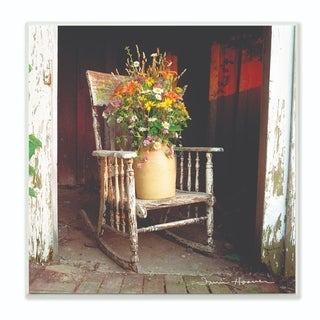 The Stupell Home Decor Collection Barn Flower Pot on Old Rocking Chair Illustration, 12 x 12, Proudly Made in USA