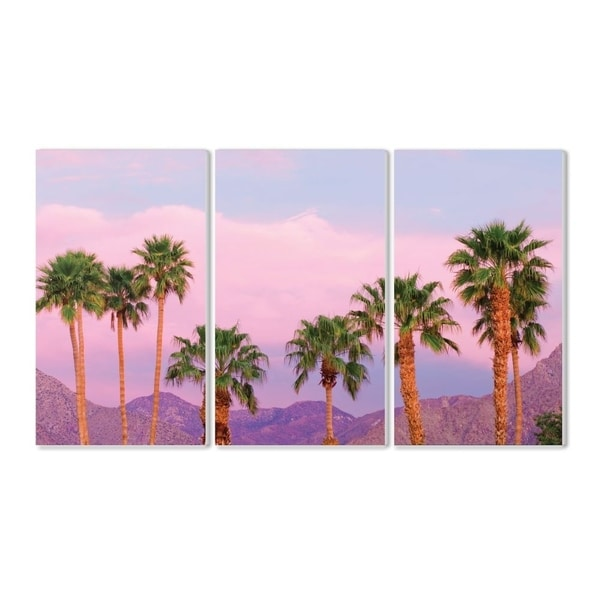 The Stupell Home Decor Collection Californian Fan Palms and Mountain Range, 11 x 17, Proudly Made in USA - Multi-Color - 11 x 17