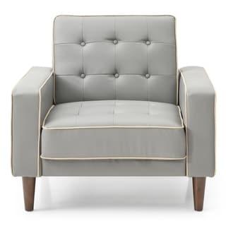 LYKE Home Contrast Stitching Grey Sleeper Chair