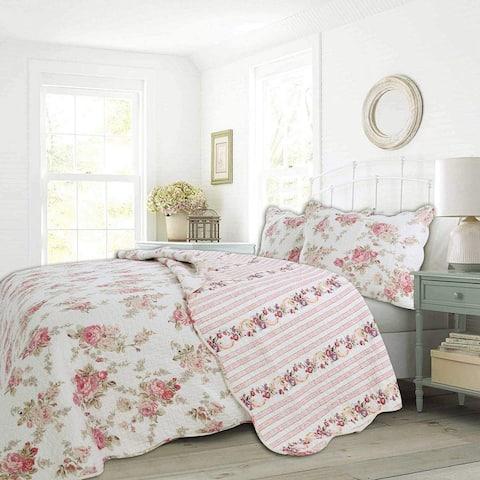 Cozy Line Patricia Floral Reversible Cotton Quilt Set