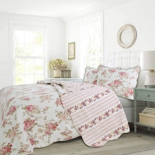 Link to Cozy Line Patricia Floral Reversible Cotton Quilt Set Similar Items in Quilts & Coverlets