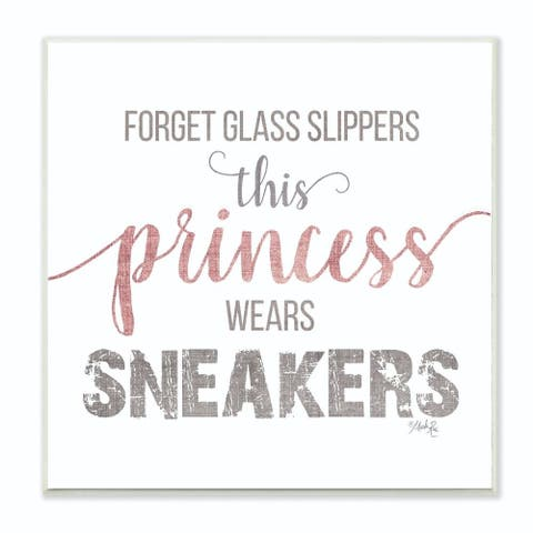 The Kids Room by Stupell This Princess Wears Sneakers Linen Type, 12 x 12, Proudly Made in USA - Multi-Color