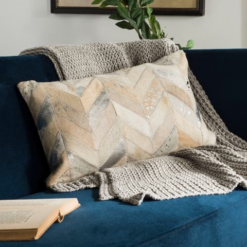 Safavieh Metallic Herringbone White/ Gold Cowhide 12 x 20-inch Pillow
