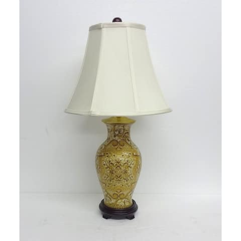 Burgundy & Gold Abstract Lamp