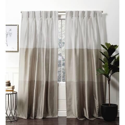 Porch & Den Edith Color Block Faux Silk Pinch Pleat Curtain Panel Pair
