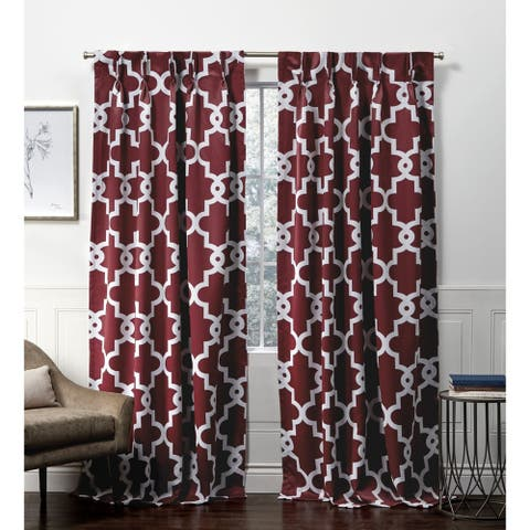 Porch & Den Birkshire Moroccan Trellis Pinch Pleat Blackout Curtain Panel Pair