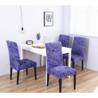 Enova Home Blue Elegant Polyester and Spandex Stretch Washable Box Cushion Chair Slipcover Set of 4
