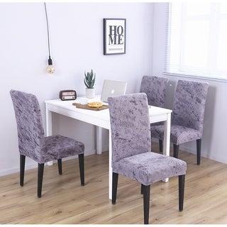 Enova Home Purple Grey Elegant Polyester and Spandex Stretch Washable Box Cushion Chair Slipcover Set of 4