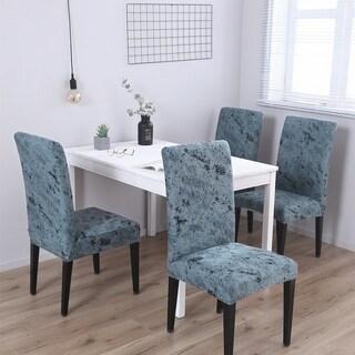 Enova Home Dark Grey Elegant Polyester and Spandex Stretch Washable Box Cushion Chair Slipcover Set of 4