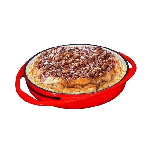 Double Handled Enameled Red Cast Iron Round Tarte Tatin Dish Pan