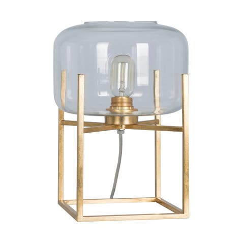 "Lamps Per Se` 15"" Gold Metal Table Lamp Set - 15"
